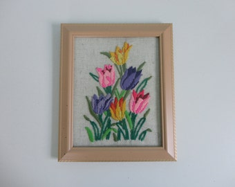 VINTAGE framed TULIP NEEDLEPOINT picture