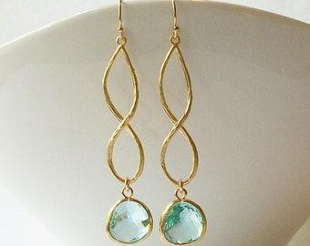 Aquamarine Blue Crystal Infinity Drop Earrings Valentine
