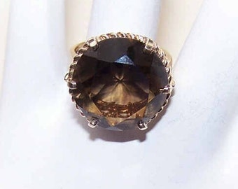 Vintage 10K Gold & Smoky Quartz Fashion Ring