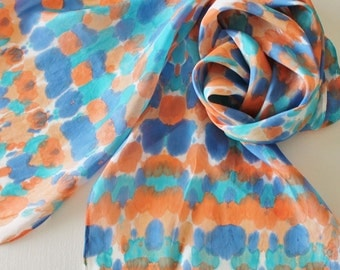 Hand Painted Silk Scarf - Handpainted Scarves Southwest Navy Blue Royal Turquoise Teal Aqua Orange Peach Tie Dyed