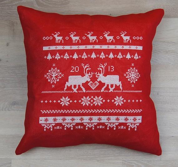 Scandinavian Christmas Pillow : Cross stitch kit REINDEER scandinavian christmaschristmas