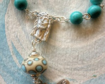 Blue fossil one decade Rosary with handmade lamp work Our Father bead