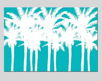 Palm Tree Silhouette - 13x19 Print - Tropical Island Decor - CHOOSE YOUR COLORS - Shown in Yellow, Turquoise, Orange, Green and More