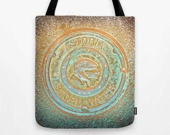 Psychedelic Tote Bag, Astoria Oregon, storm water photo, native wild salmon, dragonfly, fish, MEDIUM, beach bag, shopping bag, earthy