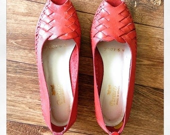 Cute red leather peep toes