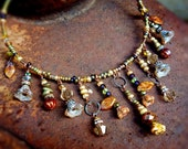 Bronze Aura enchanting autumn woods necklace - choker style warm gold necklace
