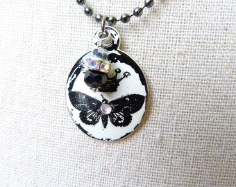 Royal Butterfly   crowned butterfly white enamel vintage style necklace