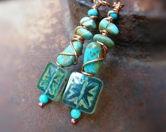 Wire Wrapped Turquoise - Southwestern rustic primitive turquoise earrings