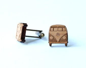 VW bus cufflinks and tie tack/lapel pin set - VW Bus