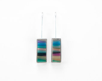 Barred Earrings - sterling silver, multicolored resin, stripes, colorful, waves