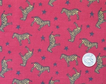 "Quality Handwoven Cotton Fabric 45"" wide BTY OOP Dark Red Zebras Stars"