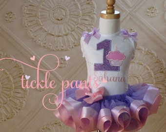 Girl's Cupcake Birthday Tutu Outfit- Pinks- Includes embroidered top and ruffled tutu-  Pink and lavender- More colors available