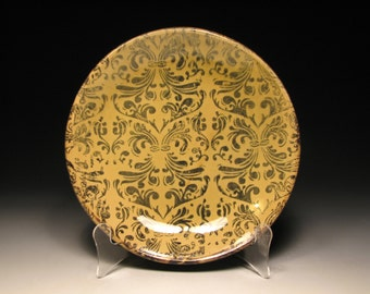 Amber Dinner Plate with Cobalt Damask Pattern