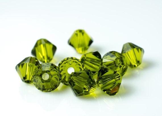 Olivine Green Bicone Crystal Beads