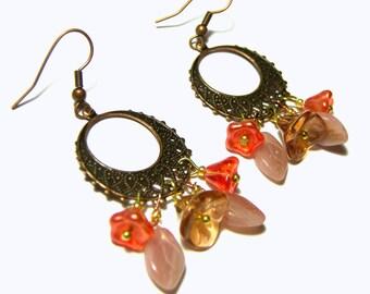 Rose Orange Flower Earrings , Earrings with Flowers , Gypsy, Boho , Tribal , Ethic , Jewelry for Women , Top Selling Jewelry , Gifts
