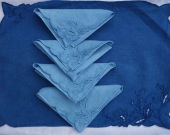 Madeira Set of 4 Napkins and 4 Placemats Indigo Dye Vintage Upcycled Light and Dark Blue Cutwork Hand Stitched Natural Plant Dye Irish Linen