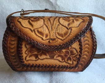 Vintage Western Tooled Satchel Purse Handbag