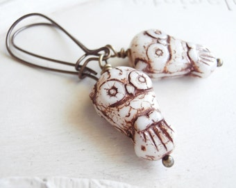 Czech Glass Owl Earrings - Brown and Cream Hoot Owl