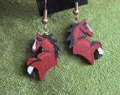 Markdown Sale...Wooden REARING HORSE Hand-painted Frenchwire Earrings...Chestnut, Bay or Black