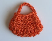 Handmade Barbie Clothes Purse Handbag Crochet Orange