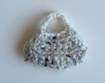 Handmade Barbie Clothes Purse Handbag Crochet Ivory Tweed (Q1921)