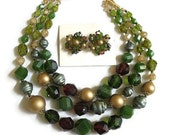 Vintage NOS Three Strand Green, Gold and Maroon Red Beaded Necklace and Earrings Set