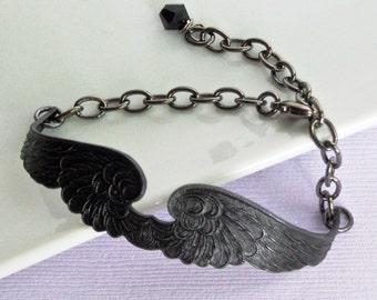 Black Wing Cuff Bracelet  -  Black Angel, Wing Bracelet, Brass Cuff