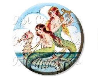 "Pocket Mirror, Magnet or Pinback Button - Wedding Favors, Party themes - 2.25""- Mermaids and Seahorse MR406"