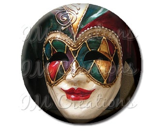 "Pocket Mirror, Magnet or Pinback Button - Wedding Favors, Party themes - 2.25""- Masquerade Harlequin MR265"