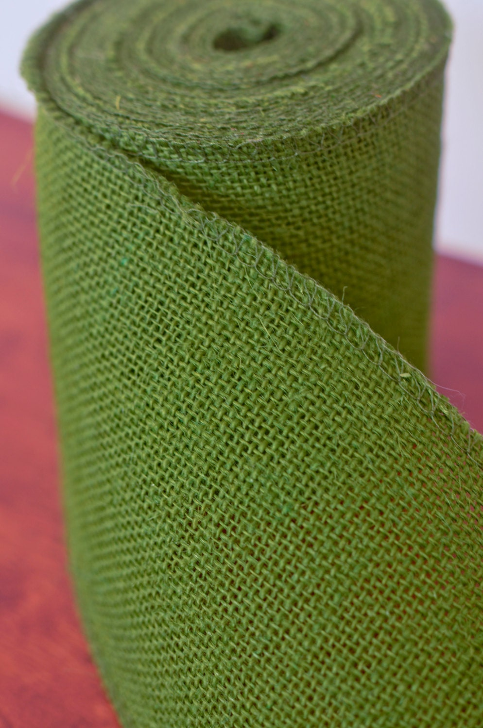 Olive green burlap ribbon by the yard 4 wide burlap for Green burlap ribbon