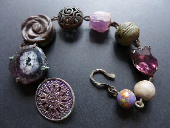 Elysium. Graduated violet rustic bracelet. Victorian tribal assemblage.