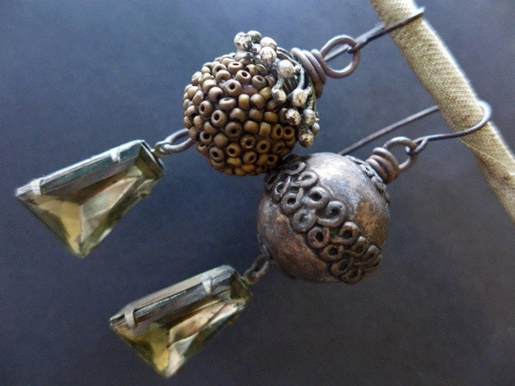 Hierophant. Bold, champaign earrings with rustic beads and refined rhinestones. Victorian tribal assemblage.