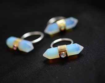 Opalite ring, statement ring, quartz, point, crystal, opal, silver, brass // OPAL AXIS RING