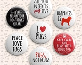 """Pug Magnet Set of 7 - Perfect for Changeable Magnetic Jewelry or Office or Refrigerator - 1"""" Magnets One Inch"""