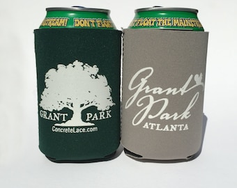 Grant Park Beer Cozy- Atlanta Neighborhood- Forest Green or Gray