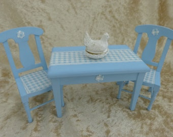 Dollhouse miniature kitchen blue table with two matching chairs