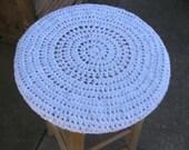 Snowfall Crochet Wooden Stool Cover