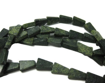 14mm Natural Russian Serpentine Trapezoid Beads