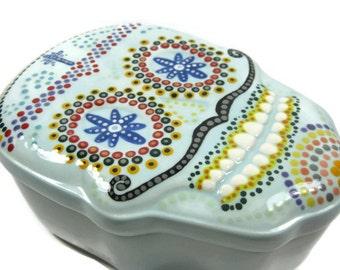 Hand Painted Ceramic Sugar Skull Trinket Box
