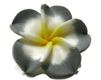 21mm Gray Polymer Clay Plumeria Flower Beads set of 4 (P02)