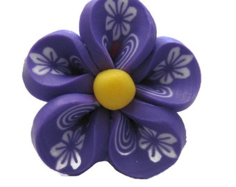 Purple Polymer Clay Flowers 20mm Beads Set of 4