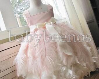 Blush flower girl dress, Ostrich Feather Flower Girl Dress - CHARLOTTE - Feather dress, flower girl dress, Ivory dress, Blush pink dress
