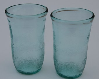 Set of two Green San Pellegrino Bottle Glasses