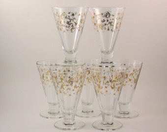 Vintage Kahlua Glasses Gold Shooting Stars Letter K Set of Seven Vintage Barware Kahlua and Cream Glasses Initial K