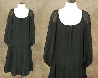 vintage 70s Peasant Dress - 1970s Boho Black Tent Dress - Gypsy Hippie Dress Sz L