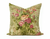 Cottage Chic Pillow, Pink Coral Flower, Country Floral Pillows, Cream Pink Green, Unique, Eclectic Cushion Covers, 20x20, SALE