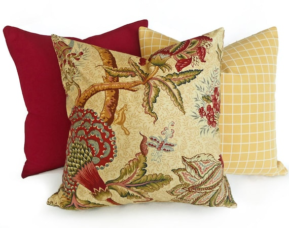 Covers with flowers in red blue on tan country decor 18x18 45x45 cm