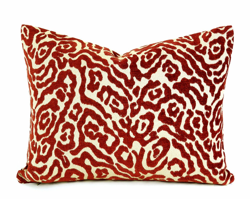 Animal Print Lumbar Pillows : Red Tan Animal Print Pillows 14x18 Lumbar Leopard Print