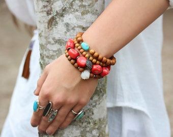 Coral Boho Statement Bracelet Bali Sterling Silver, Beadwork Bracelet, Bohemian Bracelet, Persimmon Coral Bright Colorful Stacking Bracelet