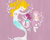 """8X10"""" mermaid mother and daughters giclee print on fine art paper. lilac purple, teal blue, pink, blonde, textured background"""